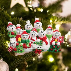 Personalized Snowmen Family of 10 Christmas Ornament