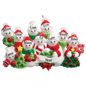 Snowmen Family of 10 Personalized Christmas Ornament