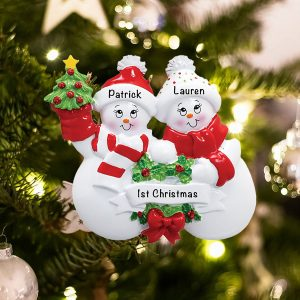 Personalized Snow Family Couple Christmas Ornament