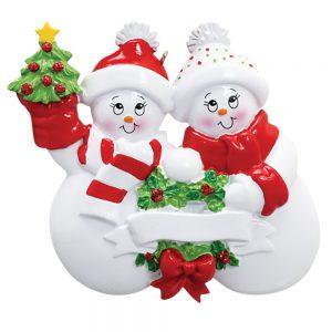 Snowmen Couple Personalized Christmas Ornament - Blank