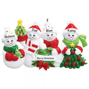 Snowmen Family of 4 Personalized Christmas Ornament