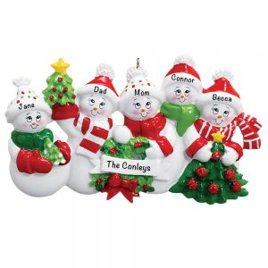 Snowmen Family of 5 Personalized Christmas Ornament