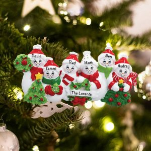 Personalized Snowmen Family of 6 Christmas Ornament