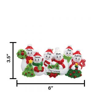 Snowmen Family of 6 Personalized Christmas Ornament