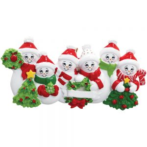 Snowmen Family of 6 Personalized Christmas Ornament - Blank