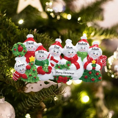 Personalized Snowmen Family of 7 Christmas Ornament