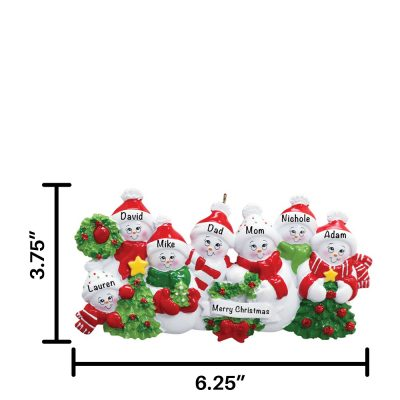 Snowmen Family of 7 Personalized Christmas Ornament