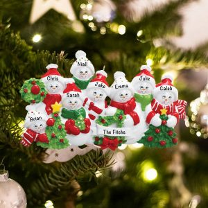 Personalized Snowmen Family of 8 Christmas Ornament