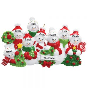 Snowmen Family of 8 Personalized Christmas Ornament