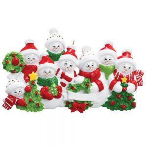 Snowmen Family of 8 Personalized Christmas Ornament - Blank