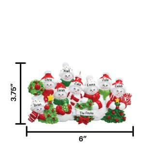 Snowmen Familyn of 8 Personalized Christmas Ornament