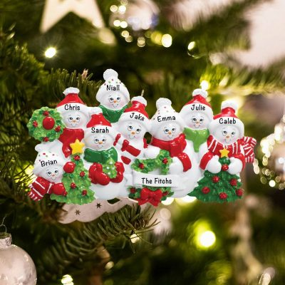 Personalized Snowmen Family of 9 Christmas Ornament
