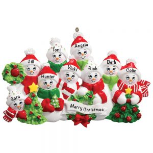 Snowmen Family of 9 Personalized Christmas Ornament