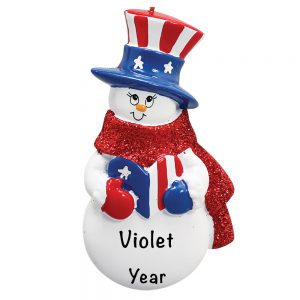 Patriotic Snowman Personalized Christmas Ornament