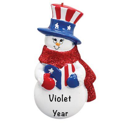Patriotic Snowman Personalized Christmas Ornament