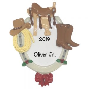 Cowboy and horse attire Personalized Christmas Ornament