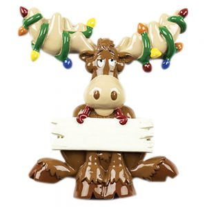 Moose Lights Personalized Christmas Ornament - Blank