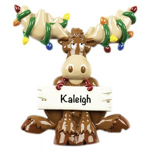 Moose with Lights Personalized Christmas Ornament