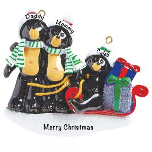 Black Bear Sled Family of 3 Personalized Christmas Ornament