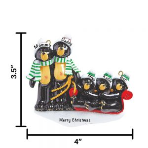 Black Bear Sled Family of 5 Personalized Christmas Ornament