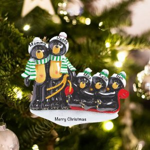 Personalized Black Bear Sled Family of 5 Christmas Ornament
