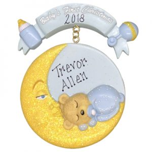 Blue Baby's 1st Christmas Moon Personalized Ornament
