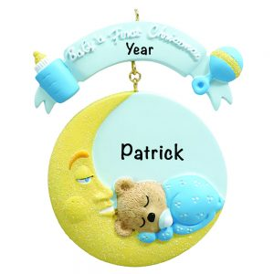 Baby's 1st Christmas Baby Moon Blue Personalized Christmas Ornament