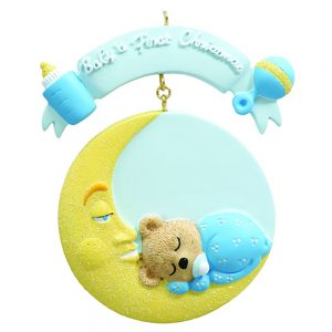 Baby's 1st Christmas Baby Moon Blue Personalized Christmas Ornament - Blank