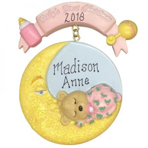 Pink Baby's 1st Christmas Moon Personalized Ornament