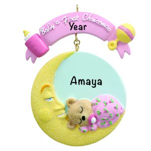 Baby's 1st Christmas Baby Moon Pink Personalized Christmas Ornament