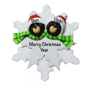 Black Bear Snowflake Couple Personalized Christmas Ornament