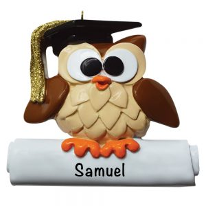 Wise Owl Graduation Personalized Christmas Ornament