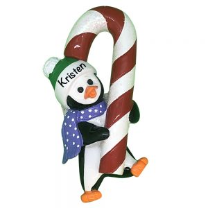 Penguin Candy Cane Personalized Christmas Ornament