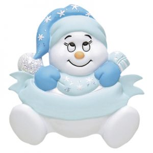 Blue Snowbaby Personalized Christmas Ornament