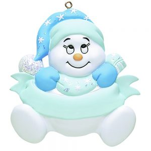 Snow baby Blue Personalized Christmas Ornament - blank