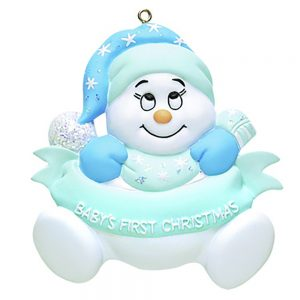 Baby's 1st Christmas Snow baby Blue Personalized Christmas Ornament - blank