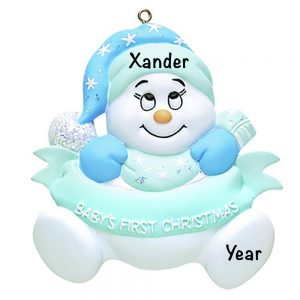 Baby's 1st Christmas Snow baby Blue Personalized Christmas Ornament copy