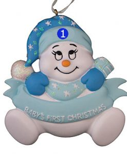 """Blue """"Baby's 1st Christmas"""" Snowbaby"""