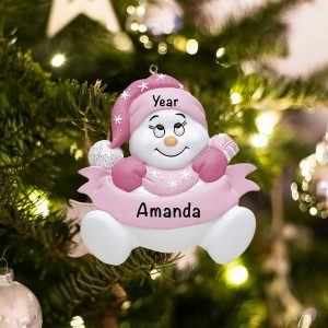 Personalized Pink Snowbaby Without Words Christmas Ornament