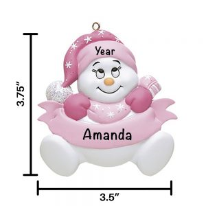 Pink Snowbaby No Words Personalized Christmas Ornament