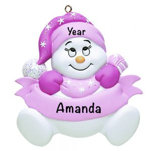 Snow Baby Pink Personalized Christmas Ornament