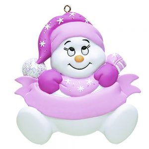 Snow baby Pink Personalized Christmas Ornament - blank