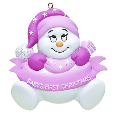 Baby's 1st Christmas Snow baby Pink Personalized Christmas Ornament - blank