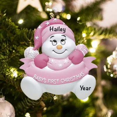 Personalized Pink Snow Baby with Words Christmas Ornament