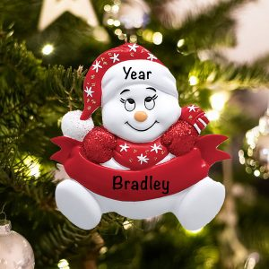 Personalized Red Snowbaby without Words Christmas Ornament