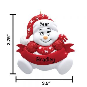Red Snowbaby No Words Personalized Christmas Ornament