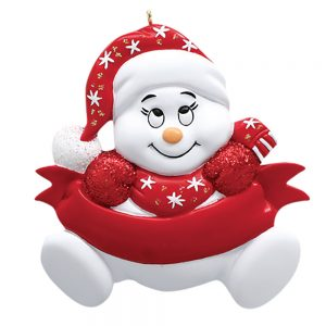 Red Snowbaby Personalized Christmas Ornament - Blank