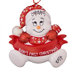 "Red ""Baby's 1st Christmas"" Snowbaby"