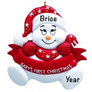 Baby's 1st Christmas Snowbaby Red Personalized Christmas Ornament