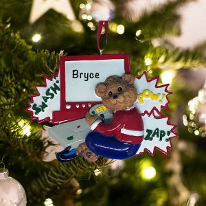 Personalized Video Game Bear Christmas Ornament